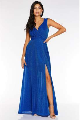 Quiz Royal Blue Glitter Wrap Front Split Maxi Dress