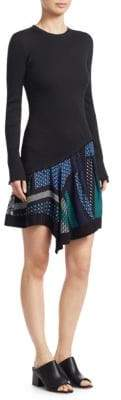 Derek Lam 10 Crosby Graphic Hem Knit A-Line Dress
