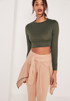 Missguided Long Sleeved Ribbed Crop Top Khaki