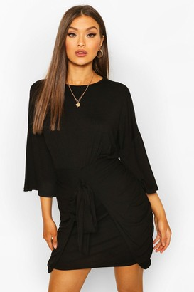 boohoo Drop Shoulder Tie Detail Jersey Dress