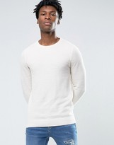 Pull&bear Crew Neck Jumper In Cream
