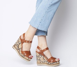 Office Halcyon Feature Wedges Tan With Snake