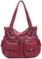 21KBARCELONA BARCELONA21K 2 Top Zippers Multi Pockets Handbags Washed Leather Purses Shoulder Bags
