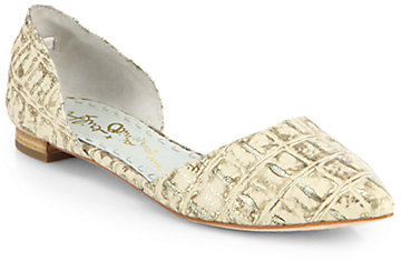 Alice + Olivia Hilary Croc-Embossed Leather d'Orsay Flats