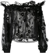 Alberta Ferretti embroidered off the shoulder top - women - Polyester - 40