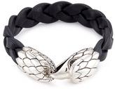 John Hardy Chalcedony silver eagle braided leather bracelet