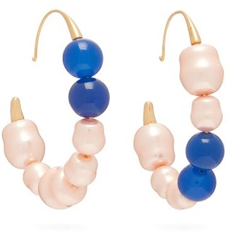 Peter Pilotto Mismatched Faux-pearl Hoop Earrings - Blue
