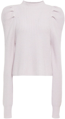 Autumn Cashmere Gathered Ribbed-knit Sweater