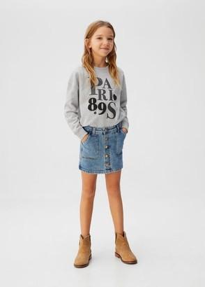 MANGO Velvet details print sweatshirt