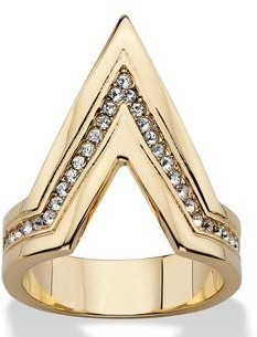 PalmBeach Jewelry Pave Crystal Chevron Cocktail Ring MADE WITH SWAROVSKI ELEMENTS 14k Gold-Plated Bold Fashi