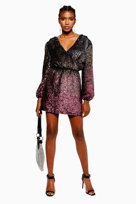 Topshop Womens Ombre Sequin Wrap Dress - Pink