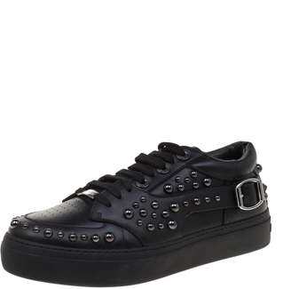 Jimmy Choo Black Studded Leather Roman Sneakers Size 40