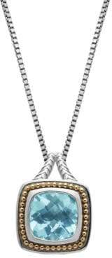 Lord & Taylor Sterling Silver 14Kt. Yellow Gold and Sky Blue Topaz Pendant Necklace