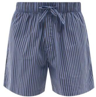 Tekla Striped Organic-cotton Pyjama Shorts - Navy/black