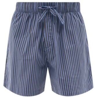 Tekla - Striped Organic-cotton Pyjama Shorts - Navy