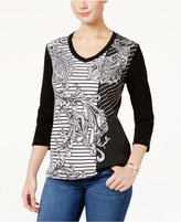 Karen Scott Paisley Striped Top, Only at Macy's