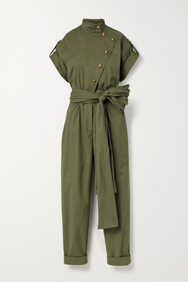 Oscar de la Renta Belted Cotton-blend Twill Jumpsuit - Army green