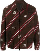 Fendi striped Karligraphy zipped jacket