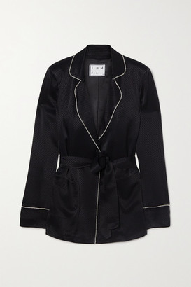 In The Mood For Love Hugh Crystal-embellished Satin-jacquard Blazer - Black