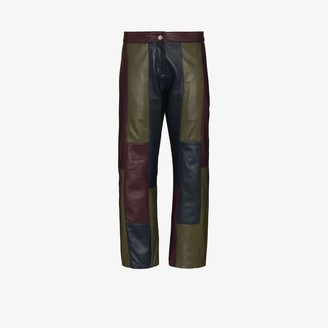 Richard Malone Recycled leather patchwork trousers