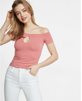 Express off the shoulder keyhole tee