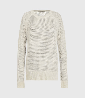 AllSaints Mesh Metallic Crew Sweater