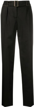 Chanel Pre Owned Tapered Belted Trousers