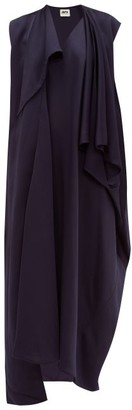 Maison Rabih Kayrouz Draped Satin Midi Dress - Womens - Navy