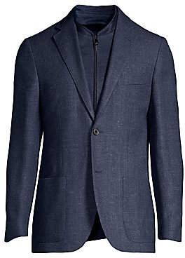 Corneliani Men's Herringbone Knit Single-Breasted Wool-Blend Jacket
