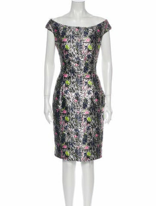 Christian Dior Printed Knee-Length Dress Silver
