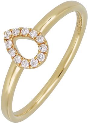 Bony Levy 18K Yellow Gold Pave Diamond Pear Shape Ring - 0.08 ctw