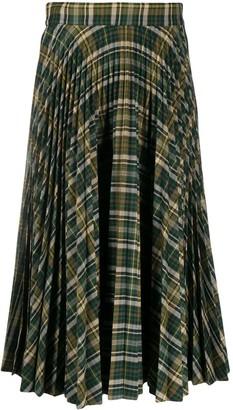 Plan C High-Waist Midi Tartan Skirt