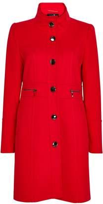 Wallis Red Faux Wool Zip Pocket Coat