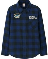 Uniqlo Boys Disney Collection Flannel Long Sleeve Shirt