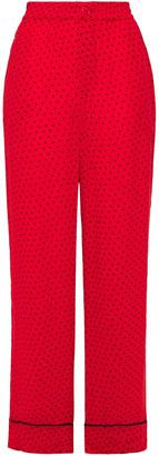 Ganni Mullin Printed Georgette Straight-leg Pants
