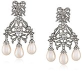 Kenneth Jay Lane Bride Simulated Cream Pearl Crystal Bowl Chandelier Dangle Clip-On Earrings