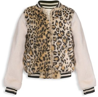 Hannah Banana Little Girl's Girl's Cheetah-Print Faux Fur Bomber Jacket
