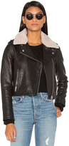 Doma Detachable Lamb Shearling Fur Collar Aviator Moto Jacket