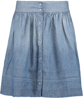 Current/Elliott Flirt washed-denim mini skirt
