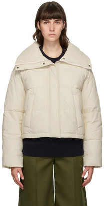 Army by Yves Salomon Yves Salomon - Army Off-White Down and Leather Doudoune Jacket