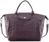 Longchamp Le Pliage Leather Handbag, Purple
