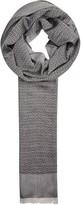 Armani Collezioni Grey Geometric-jacquard Scarf