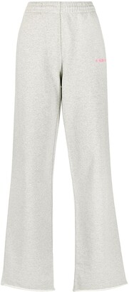 Helmut Lang Embroidered-Logo Flared Trousers