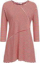 Meaneor Plus Size Casual Striped T-Shirt, O-Neck Asymmetrical Tee Loose Pullover Knit Tops (4XL, )