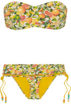 Stella McCartney Mesh-trimmed Printed Bandeau Bikini - Yellow