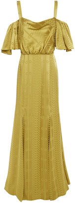 Temperley London Erika Cold-shoulder Ruffled Satin-jacquard Gown