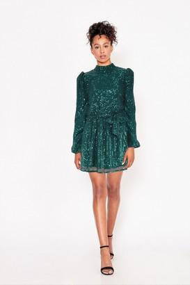 Little Mistress Arina Emerald Sequin High-Neck Mini Dress