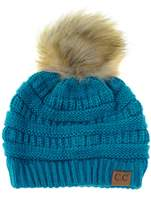NYFASHION101 Exclusive Soft Stretch Cable Knit Faux Fur Pom Pom Beanie Hat