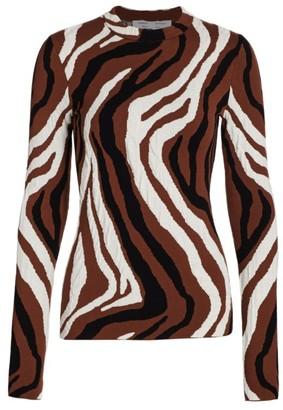 Proenza Schouler White Label Zebra Jacquard Long-Sleeve Top