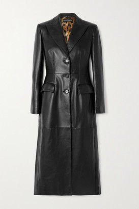 Dolce & Gabbana Topstitched Leather Coat - Black